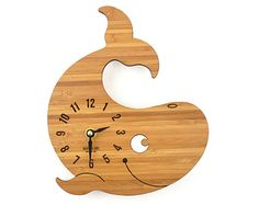 Wooden Clock, Whale Bamboo Clock, Gift for Children and Adults, Ocean Themed Baby Nursery Decor, Decorative Wood Animal Clock