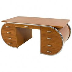 View this item and discover similar for sale at - Rare and important French Art Deco desk, Striking design in the manner of Bauhaus. Art Deco Desk, Art Deco Home, Recycled Furniture, Modern Furniture, Business Furniture, Furniture Design, Outdoor Furniture, Art Nouveau Furniture, Retro