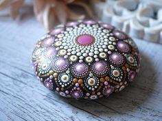 Mandala Painting, Dot Painting, Painted Rocks, Hand Painted, Artificial Stone, Rock Design, Hand Cast, Rock Art, Christmas Bulbs
