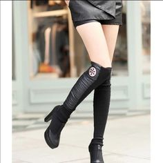 Tory Faux Leather Leg Warmers NEW New in package. One size fits most! Winter leg warmers. Own one myself and these are great! Disc Shipping available  I.N.S.P.I.R.E.D Tory Burch Accessories Hosiery & Socks