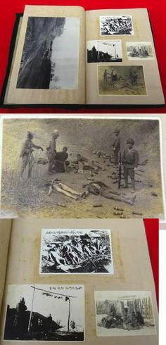 Another vintage Japanese photograph album showing the same old familiar photo/postcards of Chinese committed atrocities. Images such as these were very popular, and sold to Japanese soldiers in China as souvenirs. Later, the same images would be cropped and captioned as the Japanese Nanking Massacre. China is still fighting a losing propaganda war with Japan.