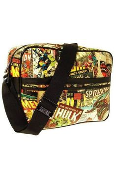 """Official licensed Marvel unisex messenger bag with a retro full color print that is meant to fade with time. Comic print on interior is monotone grey and black. Adjustable shoulder strap.Exterior velcro pocket and top zipper. One interior zip pocket. Wipe clean with a damp cloth. Great gift for the Marvel lover in your life! Also makes a great camera bag.    Measures: 15.5"""" W x 11.5"""" H x 4.5"""" D; 57"""" strap   Marvel Messenger Bag by MHGS. Bags - Cross Body Tampa, Florida"""