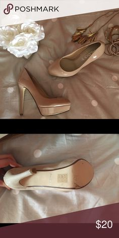 Aldo Patent Leather Platform Pumps These nude platform heels will go with just about anything! Comfortable fit, worn once to an event. No scratches, in great condition! Aldo Shoes Heels
