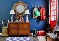 """Before & After: A Beige Entryway Gets a Bold Blue """"Town & Country Mod"""" Makeover Blue Lounge Chair, Decor, Entryway Paint Colors, Office Interior Design, Town And Country, Home Decor, Preppy Decor, Interior Design Images, Entryway"""