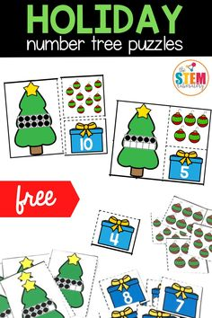 """Students will love """"decorating"""" these festive number trees! The math puzzles focus on the numbers 0 to 10 and are a perfect way for students to practice counting and number recognition this holiday season. Perfect for your Pre-K and Kindergarten students!"""