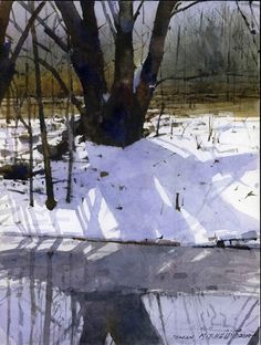 Winter Forest, watercolor by Dean Mitchell Watercolor Trees, Watercolor Artists, Watercolor Techniques, Watercolor Landscape, Watercolour Painting, Landscape Art, Landscape Paintings, Watercolours, Painting Snow