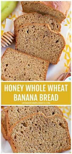 This moist and dense honey whole wheat banana bread is naturally sweetened and packed full of wholesome ingredients. You'd never guess that its healthy! #honeywholewheatbananabread #wholewheatbananabread #honeybananabread #wholewheatbread Substitute For Brown Sugar, Whole Wheat Banana Bread, Delicious Desserts, Yummy Food, Unsweetened Applesauce, Sliced Almonds, Make It Simple, Honey, Favorite Recipes