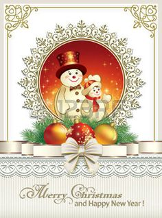 fond clair avec des décorations des rubans: Carte de Noël avec des bonhommes de neige Illustration