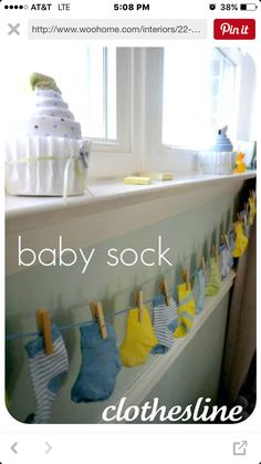 Baby sock DIY garland idea - i may do this as part of my gift
