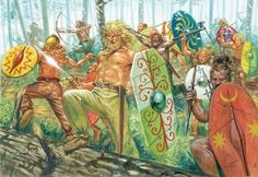 Germanic warriors burst from cover to ambush an enemy. The Germans were in general a forest dwelling people and used their environment to chilling effect.