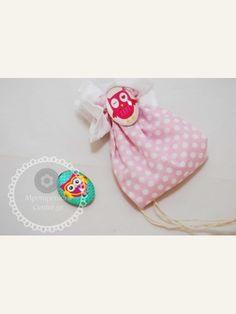 Κέρασμα γέννας πουγκάκι ροζ με λευκό πουά και μαγνητάκι κουκουβάγια σε 2 σχέδια