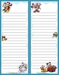Printable Lined Paper, Free Printable Stationery, Printable Frames, Christmas Scrapbook Layouts, Disney Scrapbook, Scrapbooking, Envelopes, Mickey Y Minnie, Mickey Christmas