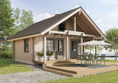Klassinen, suomalaiseen maisemaan sopiva saunatupa, jossa majoitustilaa löytyy alakerran lisäksi isolta parvelta.