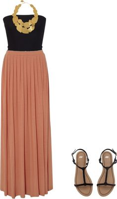 black tube top - gold pleated metal necklace - dark salmon pleated amxi skirt - black sandals