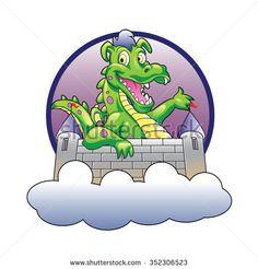 Illustration dragon and castle