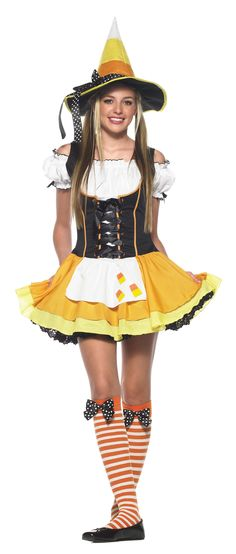 Candy Corn Witch Teen Costume - Includes: Dress, hat and stockings. Shoes not included. Small/Medium.