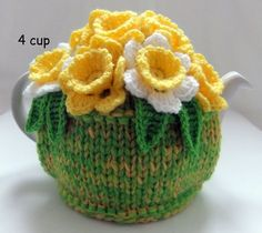 Hand Knitted Flowerpot of Spring Daffodils - 4 cup floral tea cosy - tea cozy - Knitting Ideas Tea Cosy Knitting Pattern, Tea Cosy Pattern, Knitting Patterns Free, Baby Knitting, Knitting Ideas, Knitted Tea Cosies, Tea Cozy, Christmas Knitting, Vintage Crochet