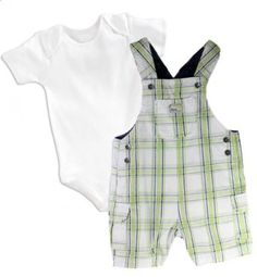 "Amazon.com: Koala Kids, Baby Boys ""Little Dude"" Classic Short Overalls Set, Blue/Green, Size: 6 months: Clothing"