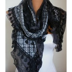 Sequin Flowers Scarf scarf shawl Free scarf Black by anils ($23) via Polyvore