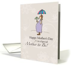 Happy Mother's Day for Mother to Be, Pregnant Woman Illustration card