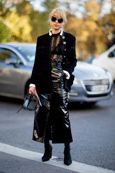 On the street at Paris Fashion Week. Photo: Imaxtree