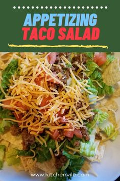Taco Salad Recipe, Try it out today. taco salads/ best taco recipe/ taco recipes healthy/ sides salads/ taco ideas for dinner/ taco tortilla/ healthy taco salads
