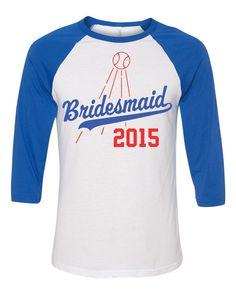 Bridesmaid Since 2015 3/4 Raglan Jersey Shirt Los by ShopLintyCat