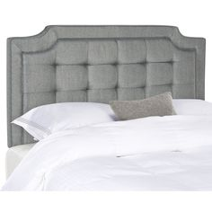 Safavieh Furniture Sapphire Grey Tufted Linen Headboard - The crown jewel of the Upper East Side, the redesign of Manhattan's most elite stay inspired this contemporary headboard. Upholstered in a deluxe grey, Tufted Headboard Queen, Linen Headboard, Modern Headboard, Full Headboard, Headboard Designs, Grey Furniture, Colorful Furniture, Bedroom Furniture, Bedroom Decor