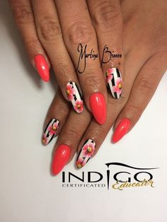 Pretty nails but different shape Summer Acrylic Nails, Best Acrylic Nails, Gel Nail Art, Pretty Nail Designs, Colorful Nail Designs, Nail Art Designs, Funky Nail Art, Funky Nails, Stylish Nails