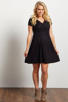 c127ff55df1ef Black Draped Front Maternity Nursing Dress