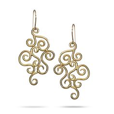 Bridal earrings, Gold dangle earrings, long earrings, big earrings on Etsy, 207.27₪