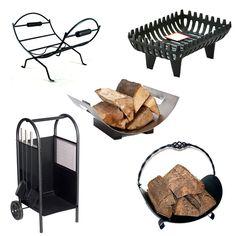 Open Log Basket Fire Grate Black Cast Coal Heavy Fireplace Firewood Holder #Inglenook