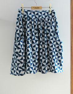 A make unashamedly led by fabric want! Merchant and Mills hand blocked cotton :: Indigo flight. Pattern :: Brumby Skirt. @merchantandmills @shopstitch56 @megannielsenpatterns #brumbyskirt #indigoflight #merchantandmills