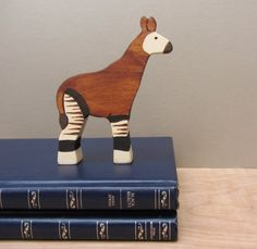 Adorable Wooden Okapi Toy Waldorf natural by Imaginationkids on Etsy, $15.00
