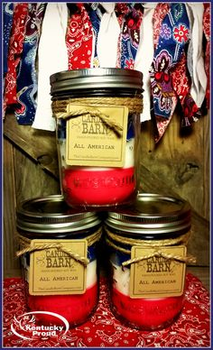 Three mouth-watering scents in one pint-sized Ball Mason Jar.  Red = Candied Apple, White = Strudel & Spice, Blue = Blueberry Cobbler  #4thofJuly  #soycandle  #smallbusiness #masonjars
