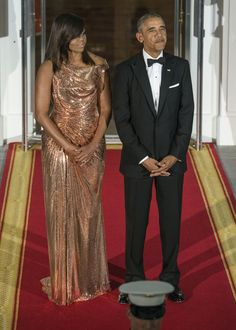 Wearing Versace at her final state dinner in 2016.