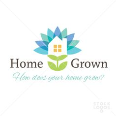 Softly colored petals frame a house upon a stem with leaves. Home Grown logo