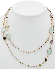 Felix & Lola by Rivka Friedman 18K Clad Silver Gemstone 40in Necklace