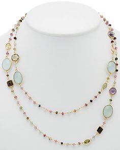 Felix & Lola by Rivka Friedman 18K Clad Silver Gemstone 40in Necklace
