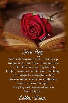 Goeie Nag, Afrikaans, Good Night, Poems, Sleep Tight, Moon, Sayings, Diy, Beautiful