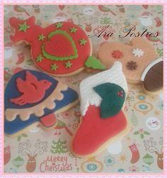 Galletas de Navidad decoradas con fondant #arapostres #navidad