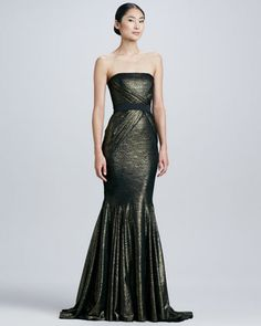 Strapless Brocade Mermaid Gown  by Badgley Mischka Collection at Neiman Marcus.