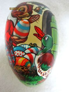 Vintage Paper Mache Easter Egg Germany Candy Container Box Easter Bunny- Duckie