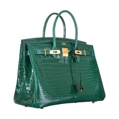 HERMES BIRKIN BAG 35cm EMERALD GREEN CROCODILE (VERT ÉMERAUDE) Janefinds | From a collection of rare vintage top handle bags at https://www.1stdibs.com/fashion/handbags-purses-bags/top-handle-bags/