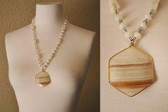 Vintage Agate Necklace BOHO Beaded Tan and by WaistlandVintage, $25.00