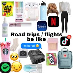 Travel Packing Checklist, Road Trip Packing, Road Trip Hacks, Packing Tips, Road Trips, Airplane Essentials, Travel Bag Essentials, Road Trip Essentials, Life Hacks For School