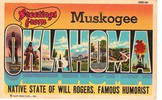 Greetings from Muskogee Oklahoma  Vintage by heritagepostcards, $2.75