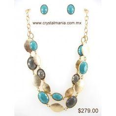 Set de collar y aretes en base dorada con detalles en forma de óvalos en diferentes tonos estilo 30243