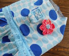 Blue Polka Dot Dog Dress size MEDIUM - with D-ring Leash Attachment & Lace Trim - Casual Summer Collection #4 by PrettyPuppiesbyJ on Etsy