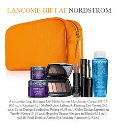 Yours with any $39.50 Lancome purchase at Nordstrom Lancome Gift Set, Lancome Gift With Purchase, Firming Eye Cream, Eyeshadow Palette, Cosmetic Bag, Sunglasses Case, Nordstrom, Cosmetics, Gifts